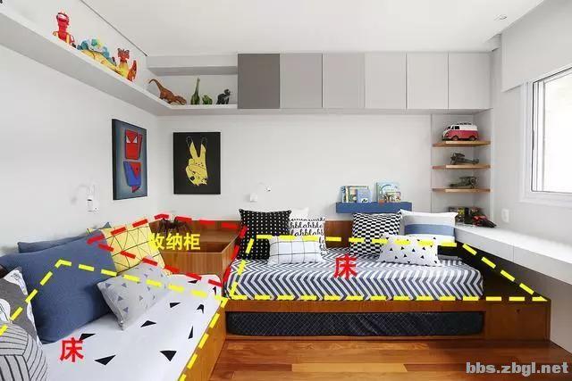 二胎家庭不做上下铺,越来越多人都把2张床靠墙放,中间做收纳柜-4.jpg