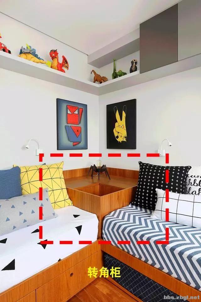 二胎家庭不做上下铺,越来越多人都把2张床靠墙放,中间做收纳柜-9.jpg