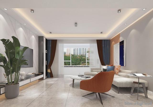 141㎡现代无主灯案例,电视墙用岩板+地台设计,邻居都来效仿-8.jpg