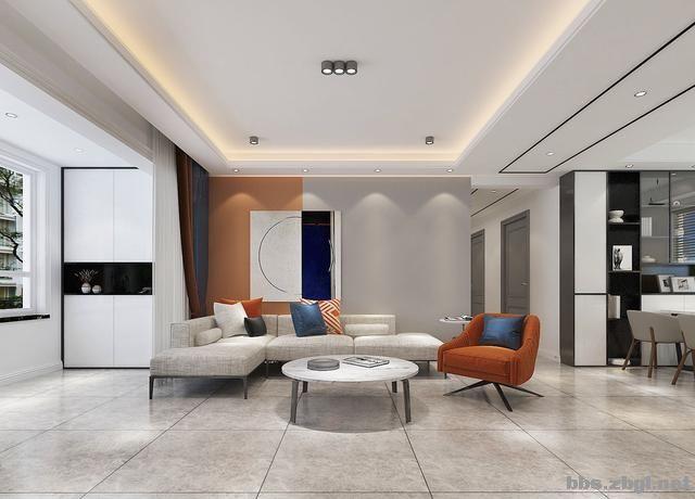 141㎡现代无主灯案例,电视墙用岩板+地台设计,邻居都来效仿-7.jpg
