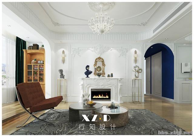 设计案例:济南财富壹号轻奢法式风格,壁炉造型电视墙简洁又漂亮-8.jpg