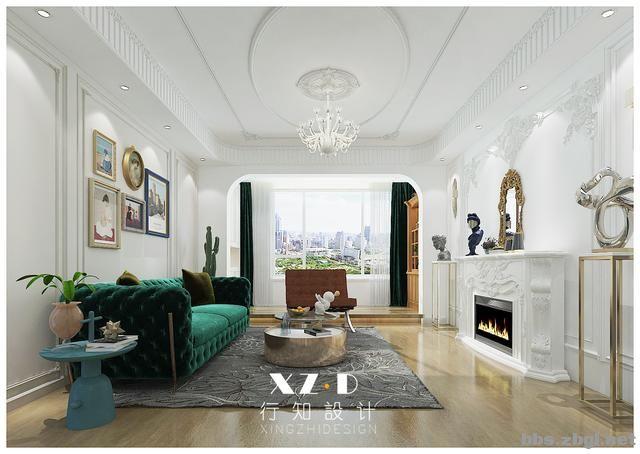设计案例:济南财富壹号轻奢法式风格,壁炉造型电视墙简洁又漂亮-7.jpg
