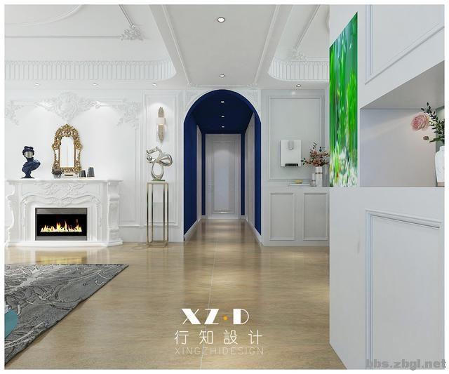设计案例:济南财富壹号轻奢法式风格,壁炉造型电视墙简洁又漂亮-17.jpg