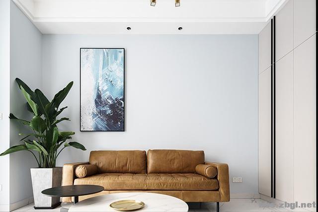 130㎡实拍装修案例:电视背景墙大理石+黄铜做装饰,简约轻奢-7.jpg