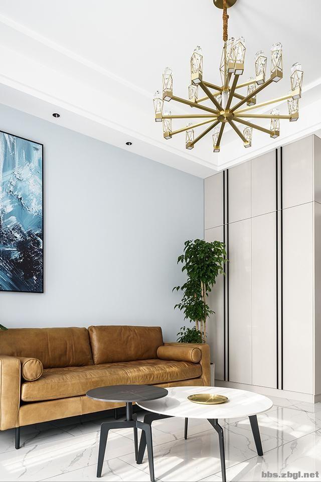 130㎡实拍装修案例:电视背景墙大理石+黄铜做装饰,简约轻奢-8.jpg