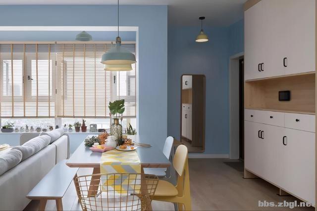夏季北欧风:全房天蓝色墙面搭配马卡龙色,居住后真的很清爽-4.jpg